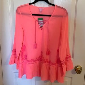Lily Pulitzer Embroidered Top in Pink Sun Ray